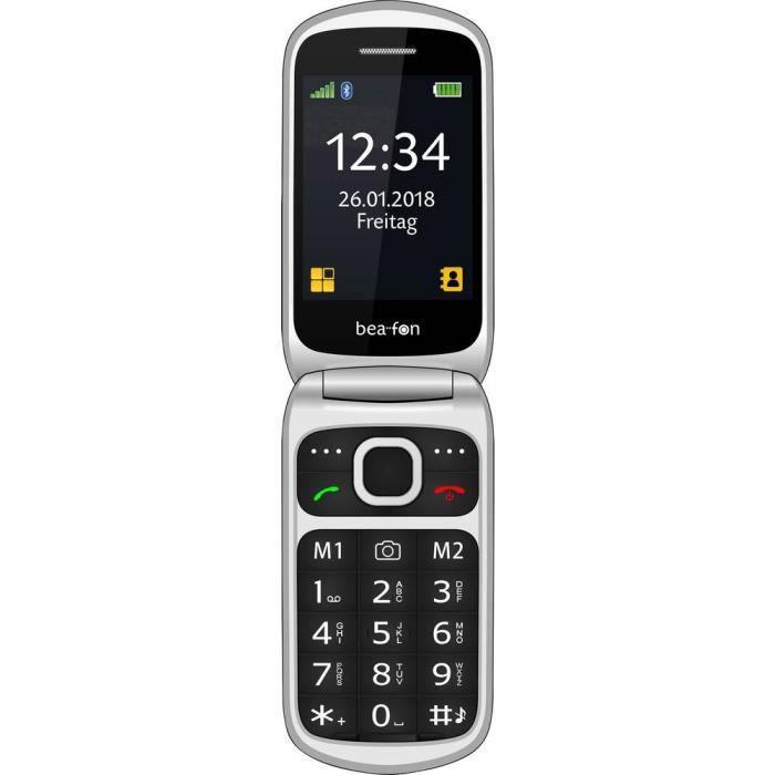 Téléphone portable à clapet pour séniors beafon Sl640 noir argent