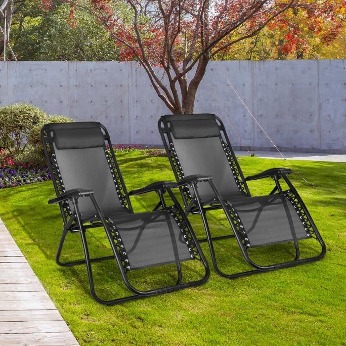 [Bigzzia] Chaise Longue piscine inclinable Lot de 2 avec Support 96 x 68 x 14 cm, Noir, Avec coussin, Charge maximale: 100 kg