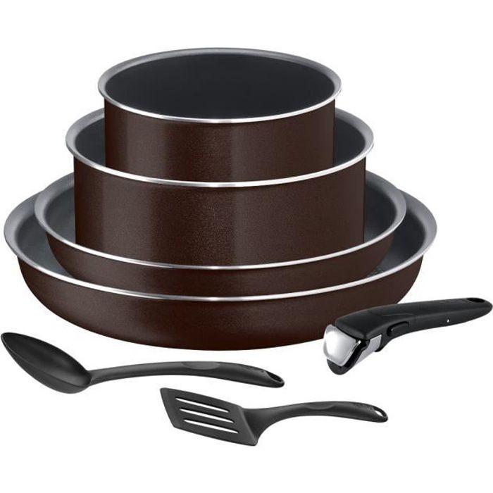 TEFAL L2389402 Batterie de cuisine 7 pièces INGENIO ESSENTIAL - Tous feux sauf induction - Fabriqué en France -Black Coffee pailleté