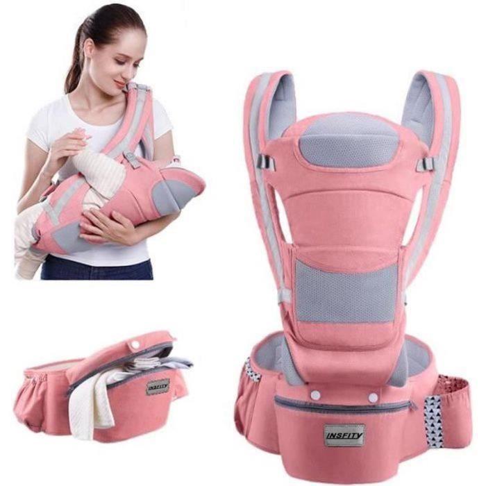0-48 Mois Porte-bébé Multifonctionnel Ventral et Dorsal Voyage Facile Pour Les Bébés Doux Sécurité Pratique - Rose