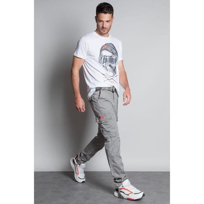DEELUXE Pantalon cargo avec ceinture TROPERY Grey Pearl