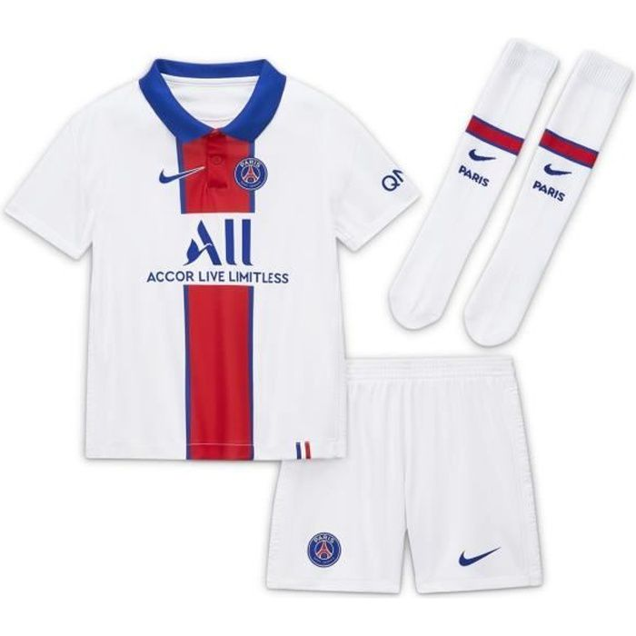 Mini Kit PSG Extérieur 2020/2021 Maillot / Short : 100 % Polyester recyclé - Chaussettes : 71 % Nylon / 26 % Polyester / 3 % Elastha