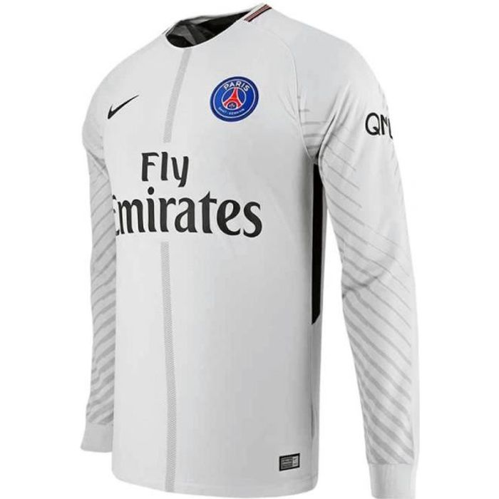 Maillot de gardien de but Nike PARIS SAINT-GERMAIN - Réf. 920923-044. Couleur : Gris, Noir. Détails. - Col rond. - Manches longues.