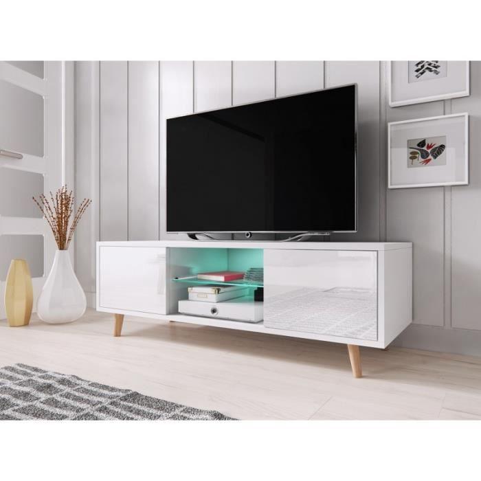 Meuble TV design EDEN 140 cm, 2 portes et 2 niches, coloris blanc mat et blanc brillant + LED. Type scandinave.: 42 Blanc
