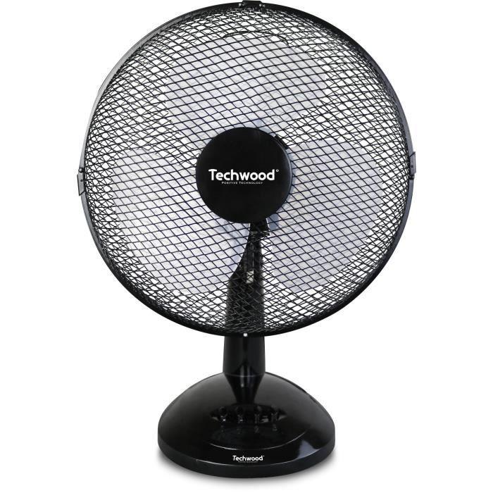 TECHWOOD 20 watts Ventilateur de table 23cm - 3 vitesses de ventilation - Réglage : - Oscillation - Orientation