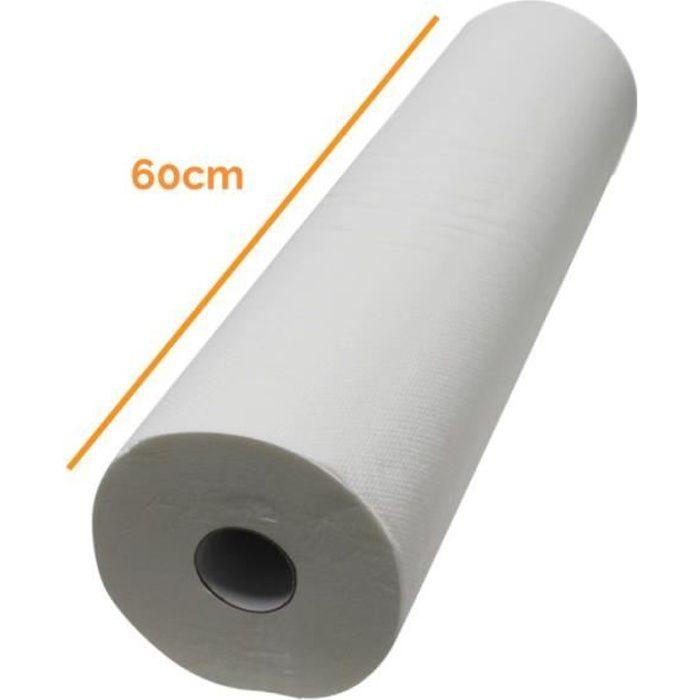 Drap d'examen blanc 60cm x 50m - 34g-m2 double épaisseur aspect gaufré 100% pure ouate