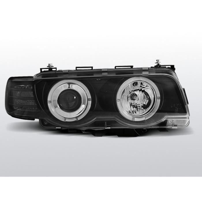 Verre Transparent LED Ange Yeux Phares Noir avec Moteur pour BMW 7er E38 94-01