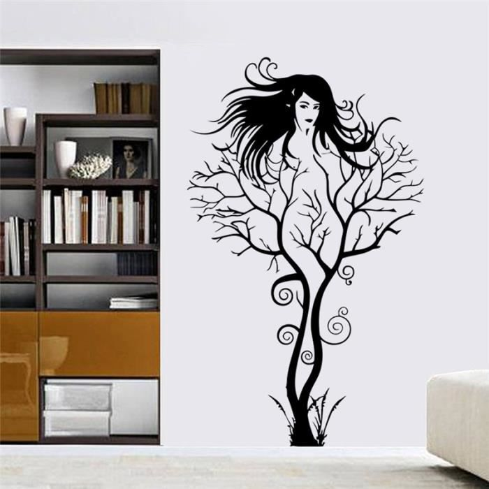Arbre fille amovible autocollant mural sticker d corat art for Auto collant mural