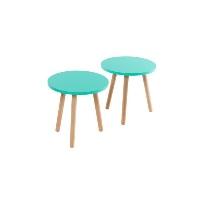 table basse ronde bleu vert clair achat vente table. Black Bedroom Furniture Sets. Home Design Ideas