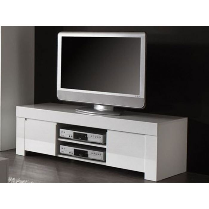 meuble tv moderne laqu blanc 2 portes 2 nich achat vente meuble tv meuble tv moderne. Black Bedroom Furniture Sets. Home Design Ideas