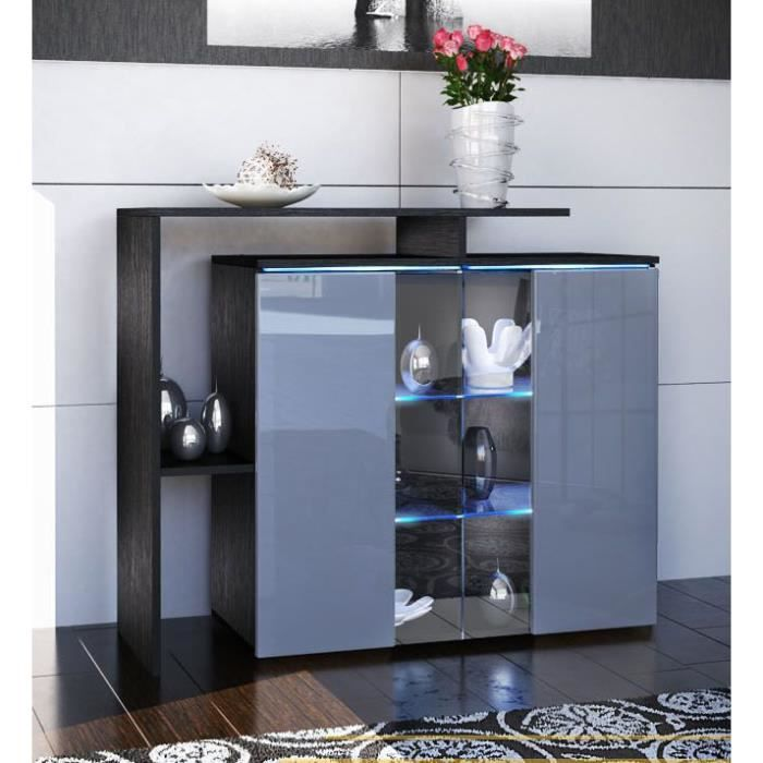 buffet commode 114 x 81 x 35 laqu noir et gris achat. Black Bedroom Furniture Sets. Home Design Ideas