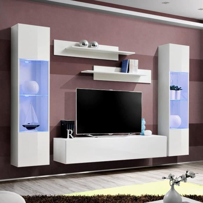 Ensemble Meuble Tele Design Blanc Larissa Blanc L 260 X P 40 X H 190 Cm Achat Vente Meuble Tv Ensemble Meuble Tele Design Cdiscount