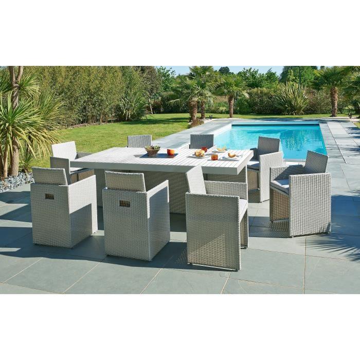 DCB GARDEN Salon de jardin encastrable 1 table et 8 ...