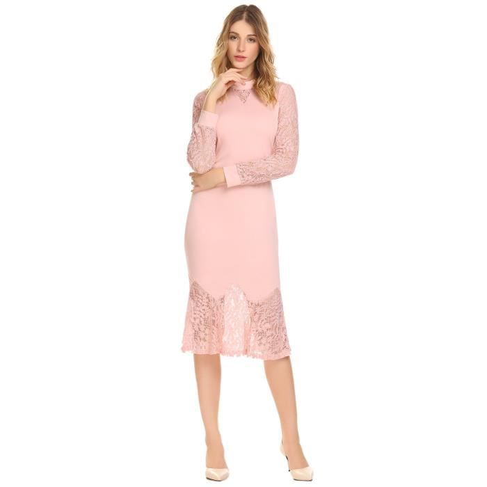 Ruffle Lace Fishtail De Dress Sleeve Bodycon Neck Dress Womens Taille Round Midi Cocktail 38 2FZJHO Party Long With Sw4tS
