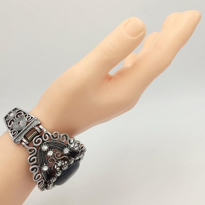 Womens Center Dot Statet Rhinestone Wide Hinged Bangle Bracelet IA5X5