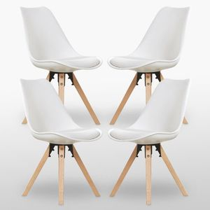 CHAISE Lot de 4 Chaises Scandinaves Blanches Sofia - Sall