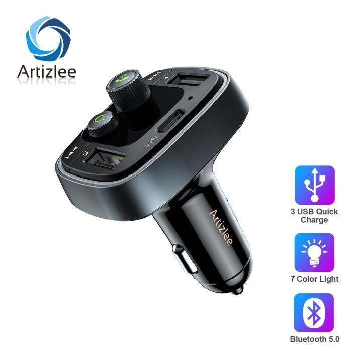 Artizlee Kit Chargeur USB Voiture Bluetooth 5.0 avec Ecran LED