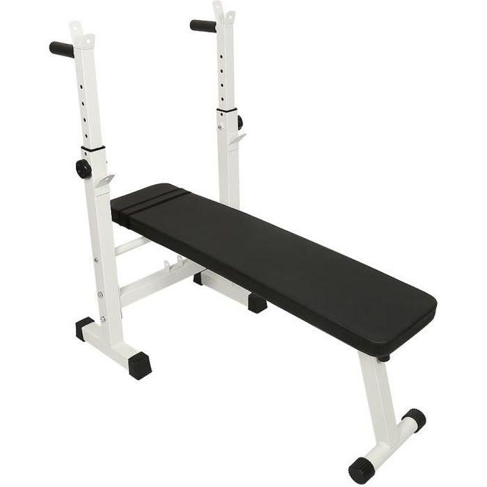 BUL Banc de Musculation avec Support de Barres - Pliable / Réglable, Charge max. 200kg - Banc de Poids, d'Entraînement