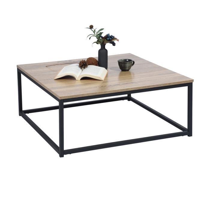 MEUBLES COSY Moderne Table Basse Bout Canapé 80x80cm - Plateau Panneau Bois Chêne - Métal Peint Noir