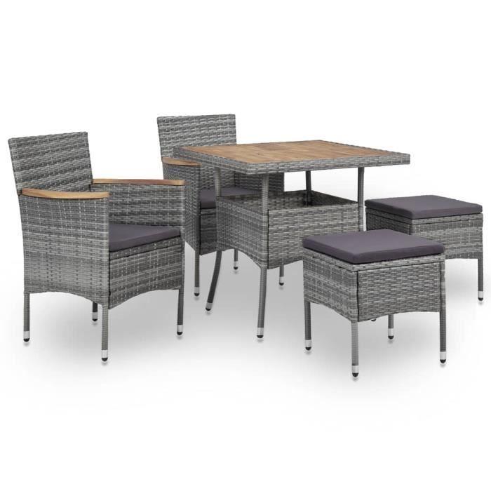 Mobilier d'extérieur 5 pcs 1 table à dîner, 2 fauteuils et 2 tabourets Gris Résine tressée et bois d'acacia