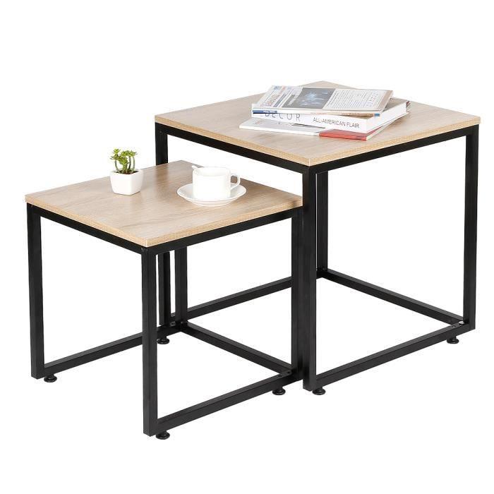 WISS Table d'appoint lot de 2 gigognes Table Basse carré Design Industriel 50x50cm+40x40cm