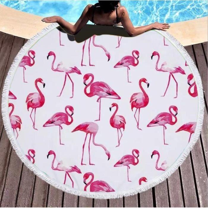 Serviette de Plage Rond Tapis de Plage Flamant Rose avec Franges Drap de Plage,Tapis de yoga,Tapisserie de Plage Flamant 150cm