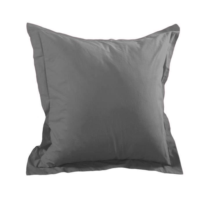 Taie d'oreiller Alicia gris anthracite 65 cm x 65 cm volant plat coton