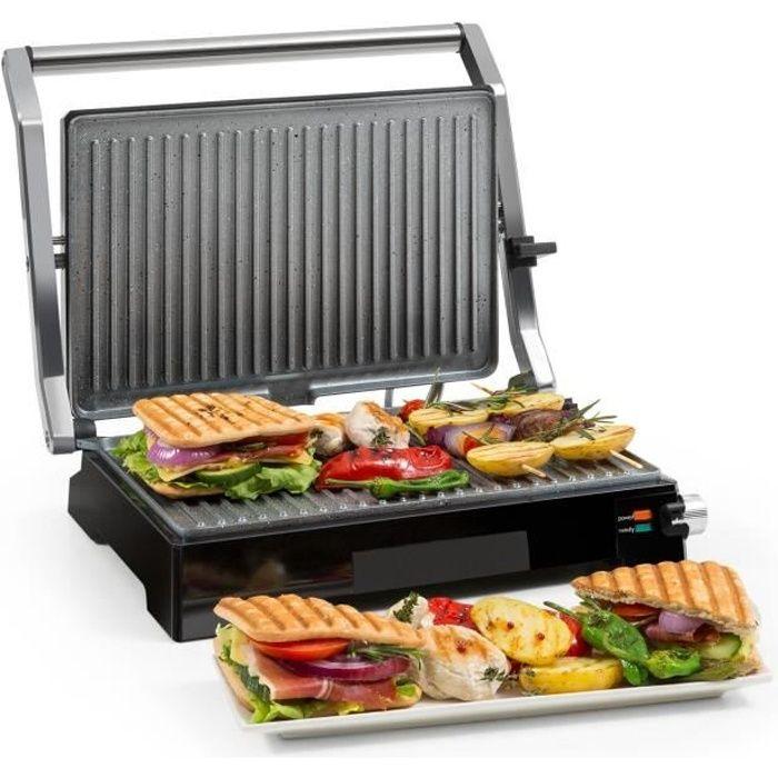 Klarstein Buffalo Grill de contact multifonction - Presse à panini - 2000W - revêtement céramique - inox & noir