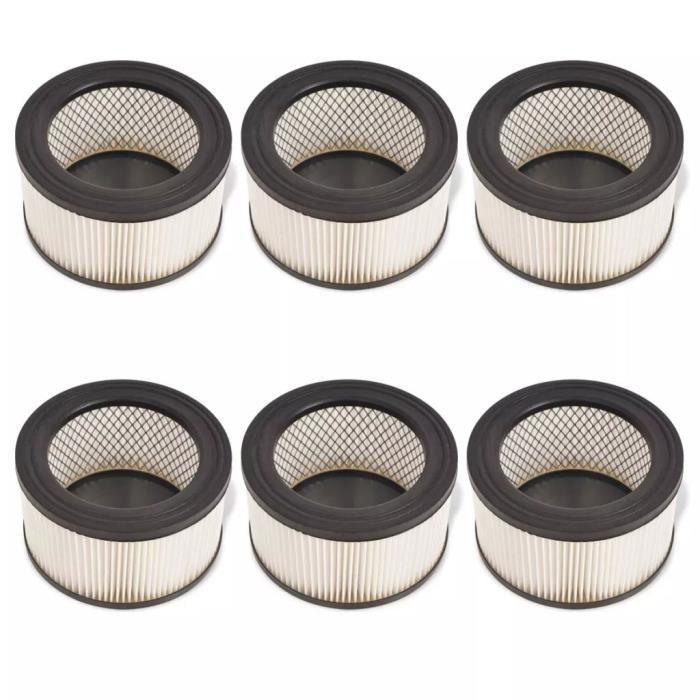 Filtre HEPA pour aspirateur à cendres 6 pcs Blanc et Noir
