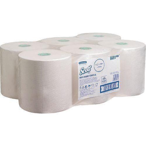 Essuie-mains laminés 'Scott 1 plis blanc 350M boîte de 6-9137216