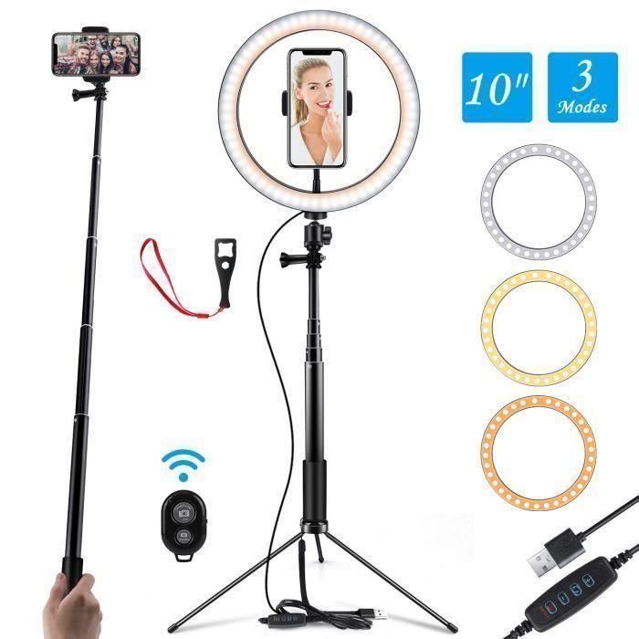 Ring Light 10 -Selfie Light Anneau avec support réglable (14.56 '' à 65 '') Télécommande 120 ampoules Ringlight pour la vidéo YouTub