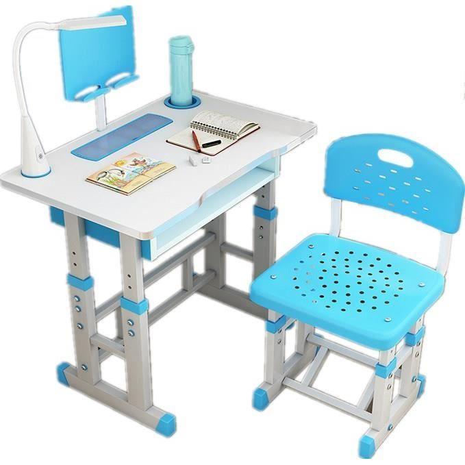 Bureau pour Enfants Ergonomique 70cm Avec Une Chaise et Lampe Pour Enfants et tasse Position Réglage En Hauteur Couleur Bleu