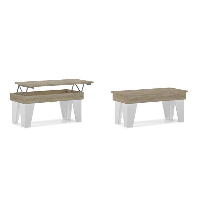 Table basse relevable, salle à manger, Modèle KL, Chêne clair - Blanc mat, mesure 92x50x45/57 cm de haut