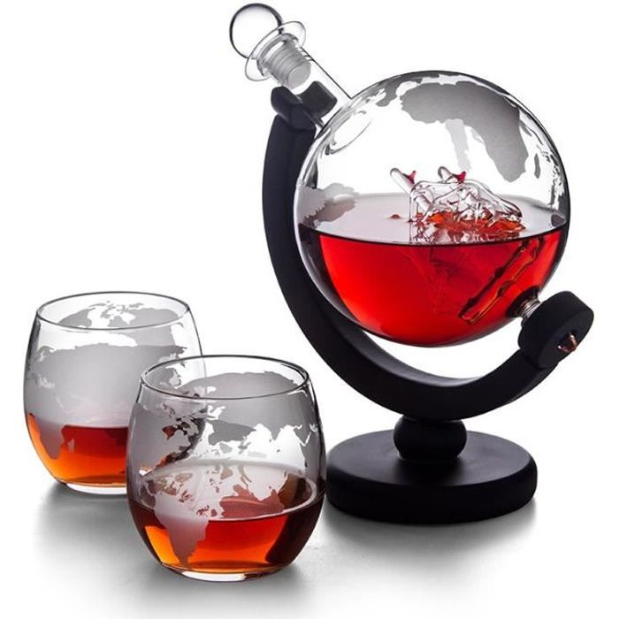Carafes vin,Carafe whisky raisin carafe bouteille Globe whisky carafe vin aerateur verre vin alcool vodka - Type with 2 cups
