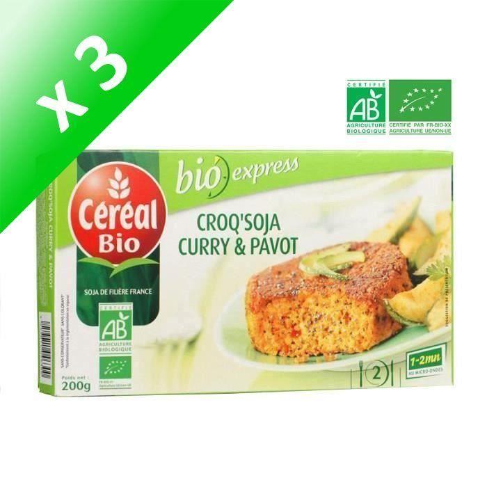 [LOT DE 3] CEREAL BIO Croq'Soja Curry Pavot Bio, spécialité végétale à base de tofu - 200 g