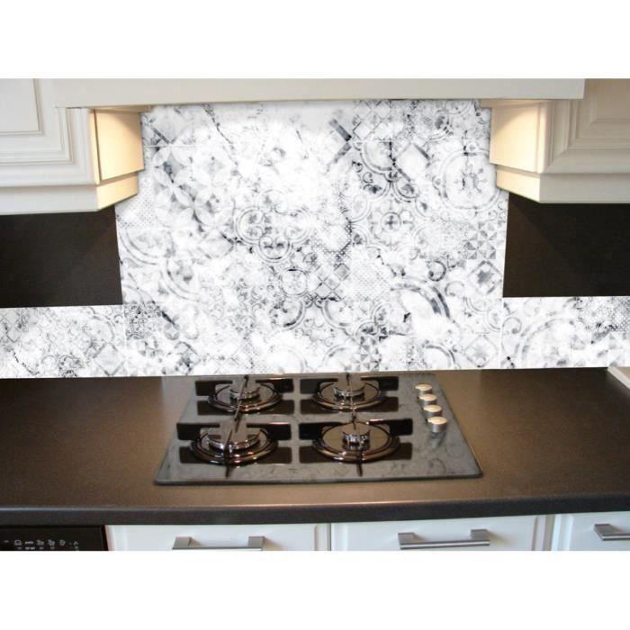 Crédence adhésive en alu imitation Marbre - L. 20 x l. 20 cm - Blanc