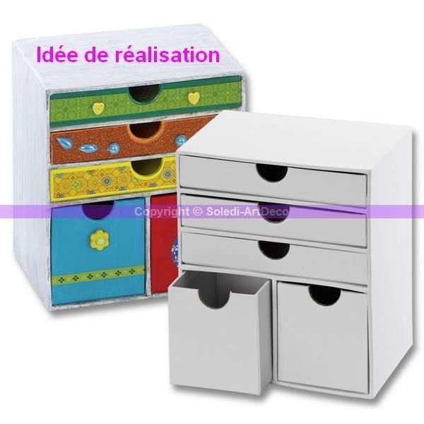 Commode à 5 tiroirs en carton blanc, 16 cm