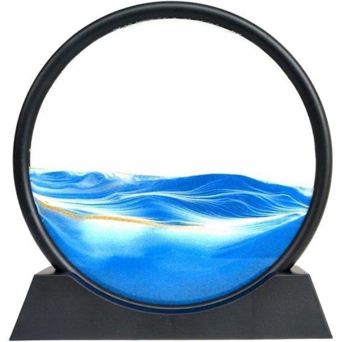 Ronde Glasss Sable Mouvant Art Image 3D Effet Dynamique Profonde Mer Sandscape Sable Qui Coule Art, Cadeau D'anniversaire 7in bleu