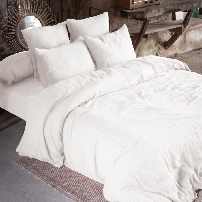 CDaffaires Housse de couette double gaze de coton 240 x 220 cm chantilly (white) Blanc