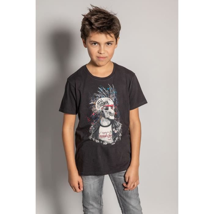DEELUXE T-shirt photo tête de mort ENFIELDON Charcoal