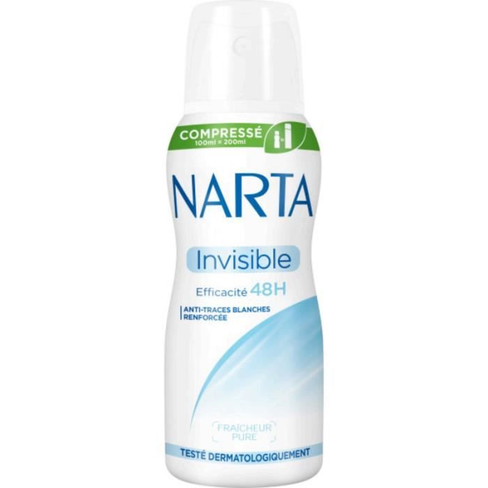NARTA Déodorant invisible compressé 48 h - 100 ml