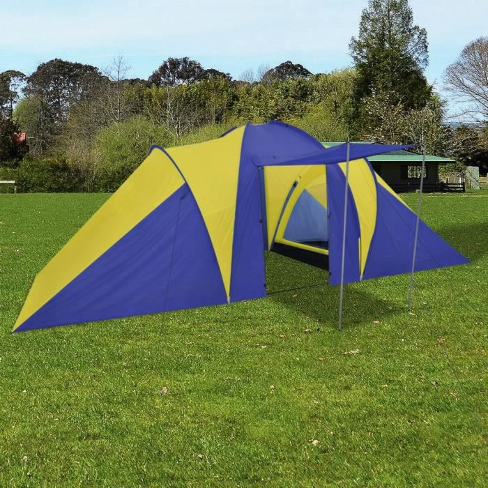 Tente de camping familiale imperméable 6 Personnes Bleu marin-Jaune