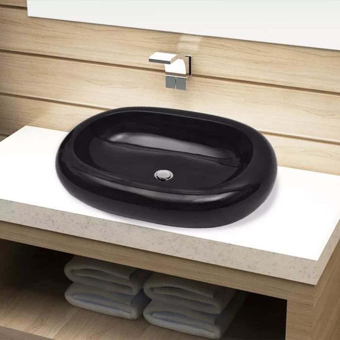 Vasque ovale céramique Noir pour salle de bain