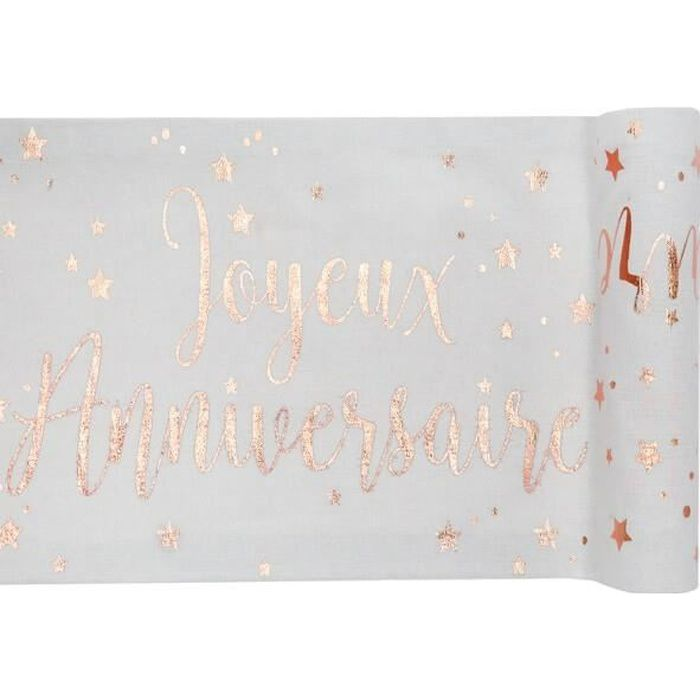 Chemin de table joyeux anniversaire blanc et rose gold métallique (x1) R/5668