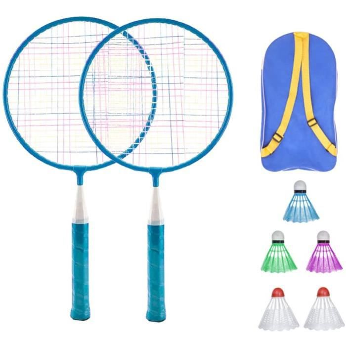 Badminton Set pour Enfants avec Raquettes Junior Tennis Raquette Play Game Beach Toys (Bleu)