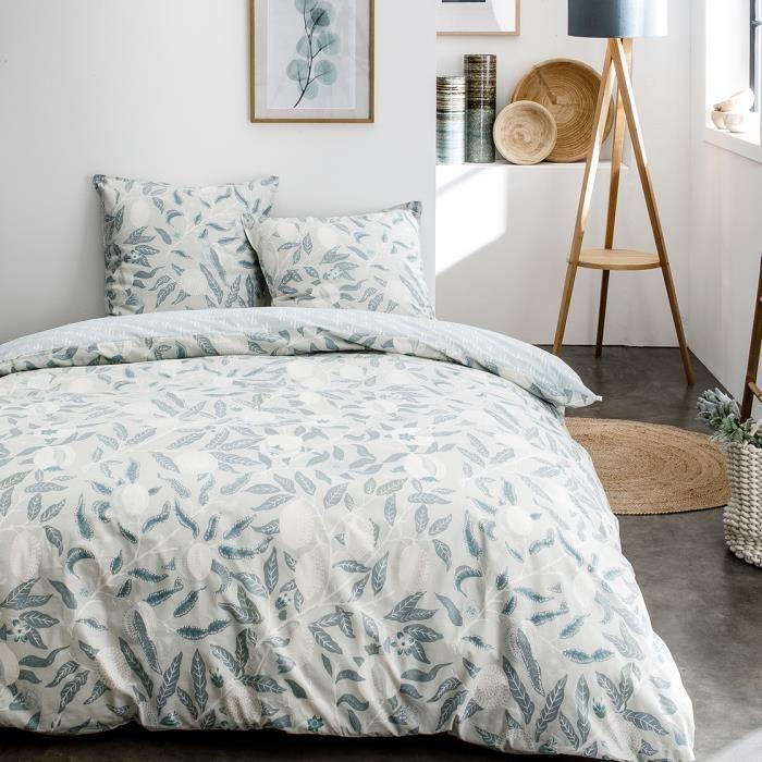Parure de lit 2 personnes 240X260 Coton imprime bleu Floral SUNSHINE