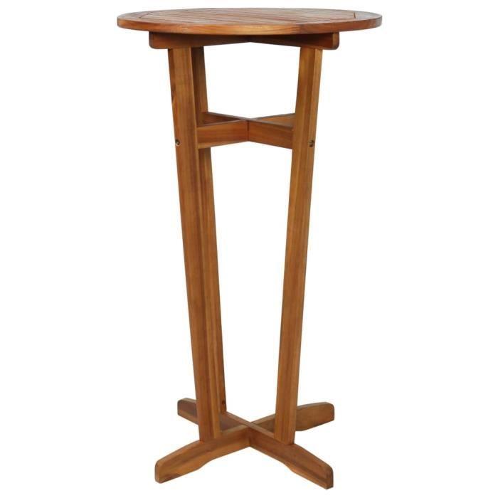 Table de bar Bois d'acacia massif 60 x 105 cm - Brun - Meubles de jardin - Tables d'extérieur - Brun - Brun