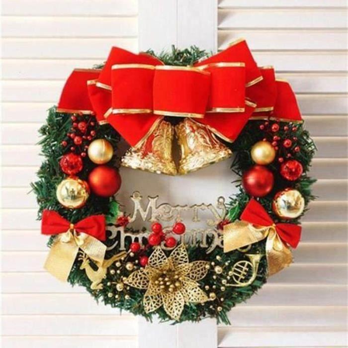 Couronne Noël Grande Guirlande Fleurs Décor DIY Noël Maison Bureau Magasin  Decoration Porte Mur Sapin de Noel (Diametre 30cm) - Achat / Vente couronne  de noël - Cdiscount
