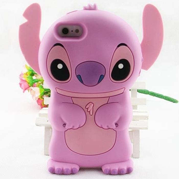 coque housse etui iphone 5 5s lilo stitch rose