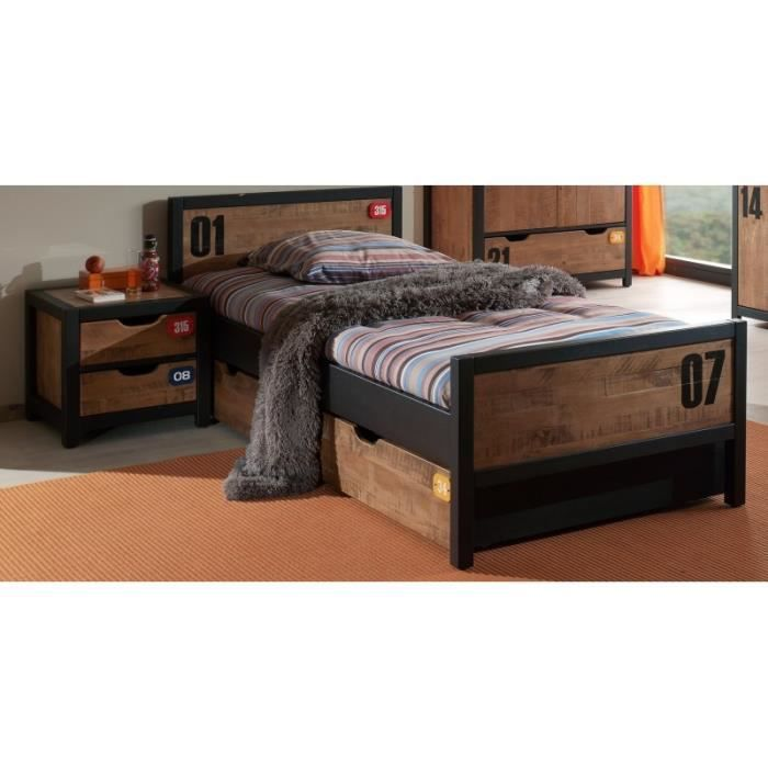 lit ado en bois massif d cor industriel student achat vente structure de lit lit ado en bois. Black Bedroom Furniture Sets. Home Design Ideas